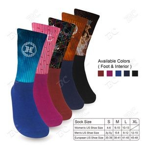 COLOR FOOT ATHLETIC SOCKS with Your Color Full Color Design TOP - Imprint in USA