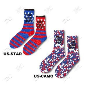 Flag Design Full Color Athletic Crew 8 Inch high Socks