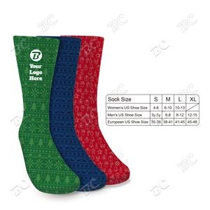 Fully Printable 3oz Holiday Design Socks - Imprint in USA